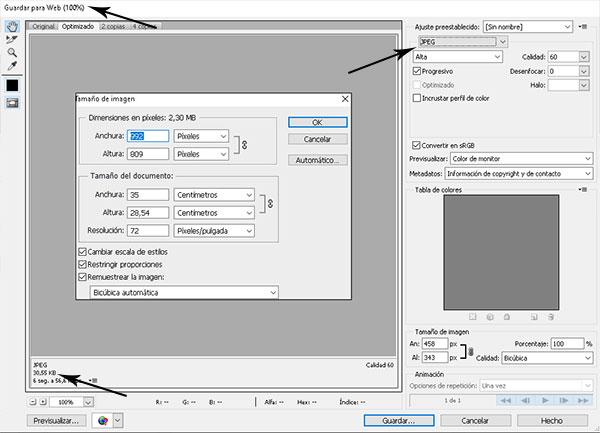 Optimizar imágenes en wordpress con photoshop