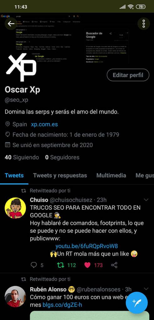 cuenta twitter xp.com.es