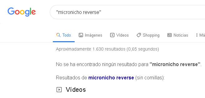 micronicho reverse sin resultados en google